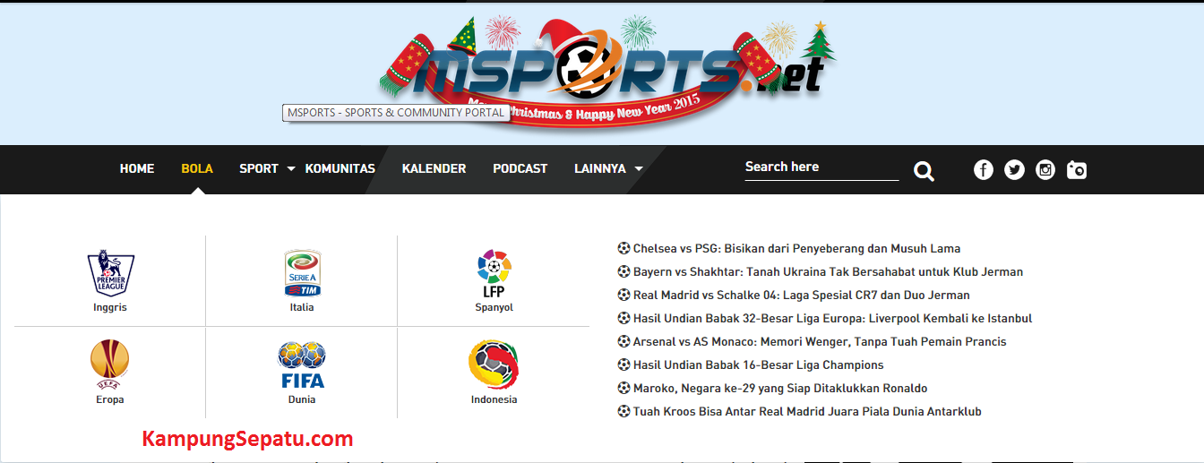 mssport homepage bola